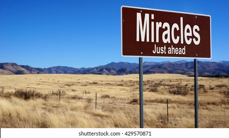 Miracles Just Ahead  brown road sign with blue sky and wilderness