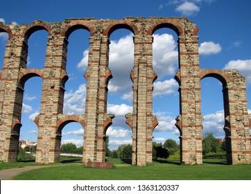 The Miraculous Aqueduct (Acueducto de los Milagros) in Merida, Extremadura, Spain