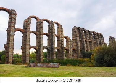 Miraculous Aqueduct (Acueducto de los Milagros in Spanish) in Emerita Augusta, today Mérida, Spain