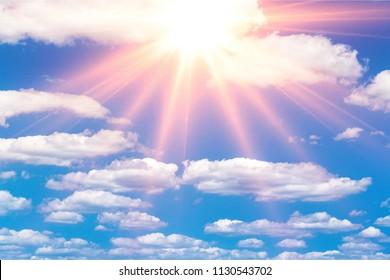 Miraculous heavenly sun light