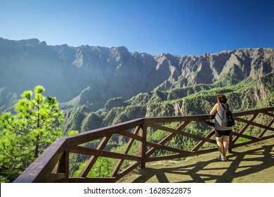 """Mirador de los Roques"" at the ""Caldera de Taburiente"" at La Palma, Canary Islands"