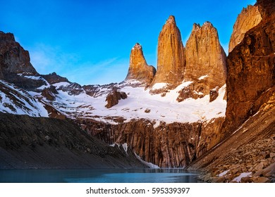 Mirador Torres at sunrise in the Torres del Paine National Park in Patagonia, Chile, South America