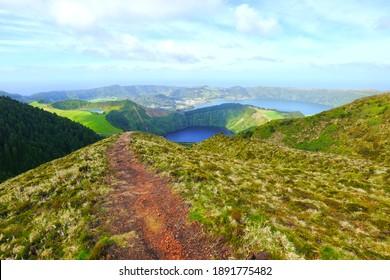 Miradouro da Boca do Inferno (Sete Cidades) hiking trail in Sao Miguel, Azores, Portugal