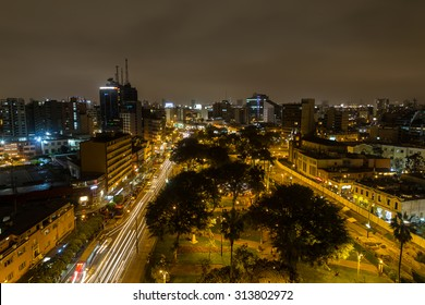 Miraflores, Lima, Peru - September 06, 2015: Photograph of the Kennedy park on a Sunday night.