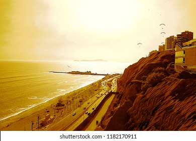 "The ""Green Coast"" in Miraflores, Lima, Peru, shows a mighty sun that radiates the Pacific Ocean, the rocky cliffs, the waterfront, buildings, birds and paragliders. Scenic panoramic view in sepia."