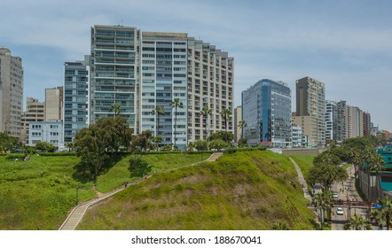 MIRAFLORES, LIMA, PERU: View of the skyline in miraflores