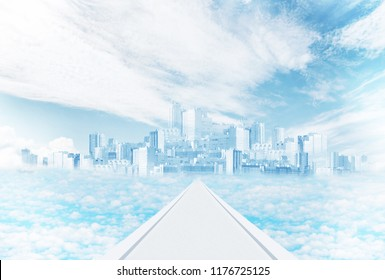 Mirage and fantasy. Mystic city in the sky among the clouds