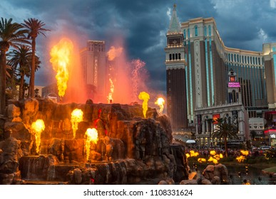 The Mirage Hotel artificial Volcano Eruption show in Las Vegas on July 13 2017 ,The hotel Opened in 1989 and it has 100,000 square feet of gaming space.