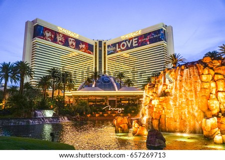 The Mirage Hotel and Casino Las Vegas in the evening - LAS VEGAS / NEVADA - APRIL 23, 2017