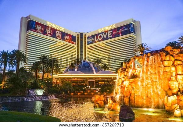 The Mirage Hotel and Casino Las Vegas in the evening - LAS VEGAS / NEVADA - APRIL 23, 2017