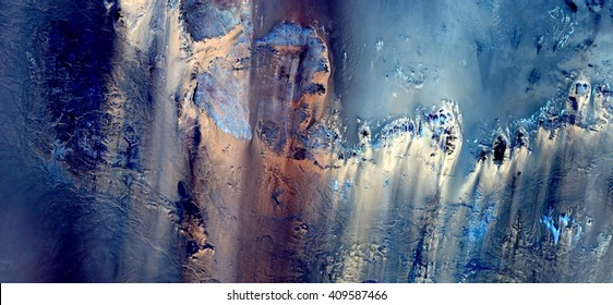 mirage in the Sahara desert, ghost in the desert,allegory, tribute to Pollock, abstract photography of the deserts of Africa from the air,aerial view, abstract expressionism, contemporary photographic