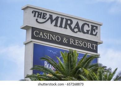 The Mirage sign at Las Vegas Boulevard - LAS VEGAS / NEVADA - APRIL 23, 2017