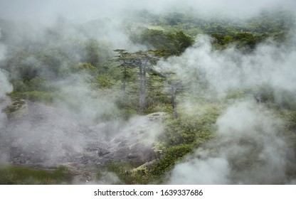 Mirages of hot springs on Far-east. Fumarole smoke on active volcano Baranskogo on Iturup  Island the biggest of the Kuril Islands chain.