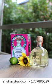 Miramar beach, Florida, USA - October, 2018. editorial photos of bottle of tequila Patron. Tequila Patron silver, Patron reposado - one of the most popular mexican tequilas in USA.