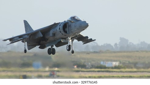 MIRAMAR, CA - OCT 3: McDonnell Douglas AV-8B Harrier II performs a vertical take-off at the Miramar Air Show in Miramar, CA on Oct 3, 2015. It's the largest military air show world-wide.