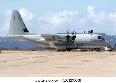 MIRAMAR, CALIFORNIA, USA - OCT 15, 2016: US Marines Lockheed C-130 Hercules cargo plane on the tarmac at the MCAS Miramar Airshow.