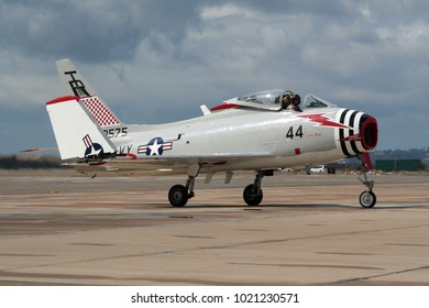 MIRAMAR, CALIFORNIA, USA - OCT 15, 2016: North American FJ-4B Fury warbird taxiing after flying at the MCAS Miramar Airshow.