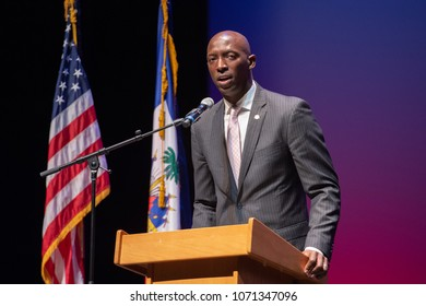 Miramar, Florida/USA - April 15, 2018: Haitian President Jovenel Moïse on stage at the Miramar Cultural Center. He spoke to a capacity audience about Haiti's progress during his first year in office.