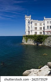 Miramare castle and sea sight from main entrance