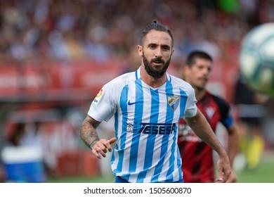 Miranda de Ebro, Spain. 14th Sep, 2019. Castilla y León. Anduva. Liga SmartBankr. CD Mirandes v Malága CF: Miguel Ángel Cifuentes runs trying to take the ball.