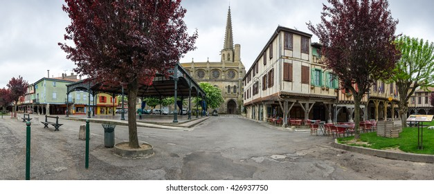 MIREPOIX, FRANCE -  MAY 05, 2015: Old gothic temple at main square of medieval village Mirepoix in southern France