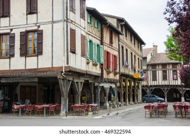 MIREPOIX, FRANCE -  MAY 05, 2015: Old framework houses at main square of medieval village Mirepoix in southern France