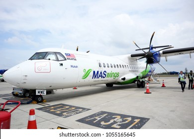 MIRI, MALAYSIA. 2018 Feb 18th. Viewing Prop Plane, connected From Miri to Mulu Airport, operated by MASwings.