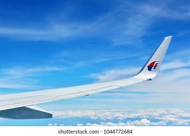 MIRI, MALAYSIA. 2018 Feb 26th. Aerial View of Malaysia Airline's Wing.