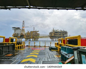 Miri, Malaysia - 8 May 2019 : Scenery view oil and gas platform with gas burning at Miri, Sarawak - Malaysia.Mobile photoghpy.