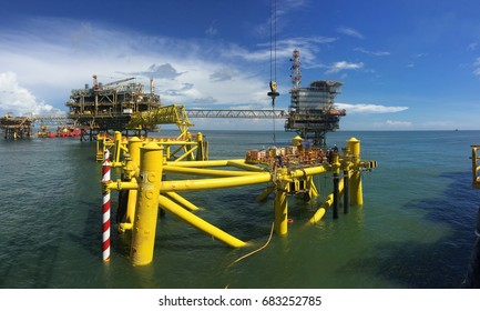 Miri, Malaysia, May 2017: Offshore jacket for BNCPP-B platform after riser installation and before topside installation.