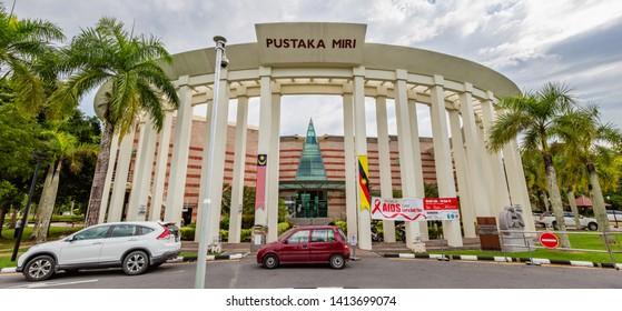 Miri, Sarawak, Malaysia - December 03 2018: Pillars at the entrance of Pustaka Miri