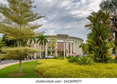 Miri, Sarawak, Malaysia - December 03 2018: the garden and pillars at the entrance of Pustaka Miri