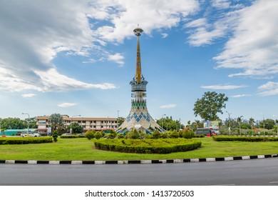 Miri, Sarawak, Malaysia - December 03 2018: The architecture at the roundabout near Pustaka Miri sponsored by Miri Loinsclub