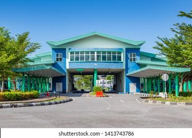 Miri, Sarawak, Malaysia - December 03 2018: Building of Sungai Tujuh Miri Check Point at Custom Complex Sungai Tujuh; border between Malaysia - Brunei