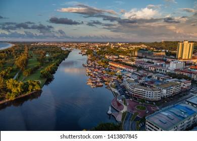 Miri, Sarawak, Malaysia - December 03 2018: View of Miri City taken at golden hour