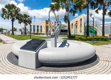 Miri, Sarawak, Malaysia - December 4 2018: Fountain and time capsule of the Petroleum Museum Miri on Canada Hill, where Miri's first drilled oil well in  1910 by Shell Company, was located.