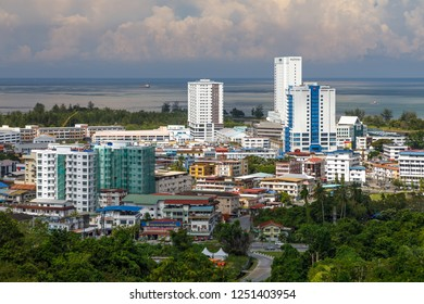 Miri, Sarawak, Malaysia - December 5 2018: Cityview of Miri from Canada Hill
