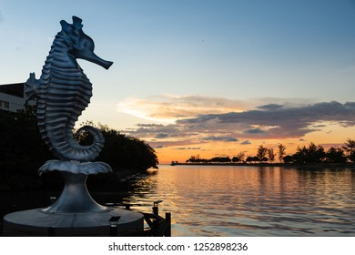 Miri, Sarawak, Malaysia - December 5 2018: The Seahorse Sculpture at Miri Waterfront during sunset. The Seahorse is the official town mascot.