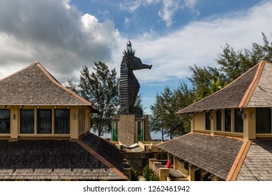 """Miri, Sarawak, Malaysia - December 5 2018: The iconic Seahorse Lighthouse at  the lifestyle and entertainment place """"Coco Cabana Miri"""""""