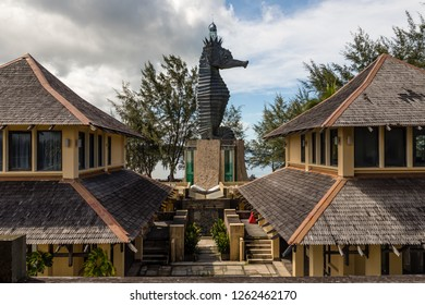 Miri, Sarawak, Malaysia - December 5 2018: The iconic Seahorse Lighthouse at  the lifestyle and entertainment place Coco Cabana Miri