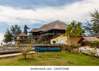 """Miri, Sarawak, Malaysia - December 5 2018: The iconic Seahorse Lighthouse and """"Coco Cabana Miri"""" - A Lifestyle and Entertainment Place"""