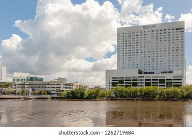 Miri, Sarawak, Malaysia - December 5 2018: The Pullman Hotel at Miri Waterfront. At the left side the jetty with the giant Sea Horse sculpture.