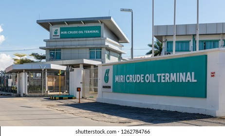 Miri, Sarawak, Malaysia - December 5 2018: Miri Crude Oil Terminal (MCOT), operated by Petronas Sdn. Bhd at the site of the former Lutong Oil Refinery.