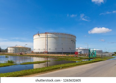 Miri, Sarawak, Malaysia - December 5 2018: Flat bottom storage tank farm of Petronas at their MCOT site (Miri Crude Oil Terminal) in Lutong