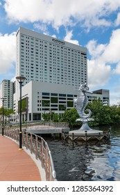 Miri, Sarawak, Malaysia - December 5 2018: The Seahorse Sculpture at Miri Waterfront in front of the Pullman Hotel. The Seahorse is the official town mascot.