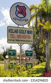 "Miri, Sarawak, Malaysia - December 5 2018: Sign ""Kelab Golf Miri"" (Golf Club Miri) at Kg Pulau Melayu"