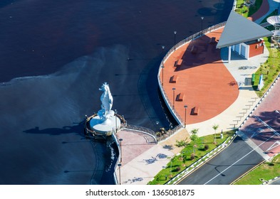 Miri, Sarawak, Malaysia - December 5 2018: The Seahorse Sculpture at Miri Waterfront in front of the Pullman Hotel, seen from above. The Seahorse is the official town mascot.