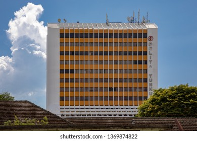 Miri, Sarawak, Malaysia - December 5 2018: Wisma Pelita Tunku, an older shopping complex and office building. It was Miri's first fully air-conditioned high rise building in the 1980s