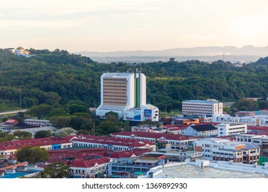 Miri, Sarawak, Malaysia - December 5 2018: Cityview with Wisma Pelita Tunku, an older shopping complex and office building. It was Miri's first fully air-conditioned high rise building in the 1980s