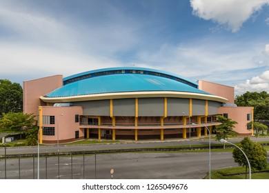 Miri, Sarawak, Malaysia - December 6 2018: Miri Indoor Stadium, as part of the Miri Sports Complex